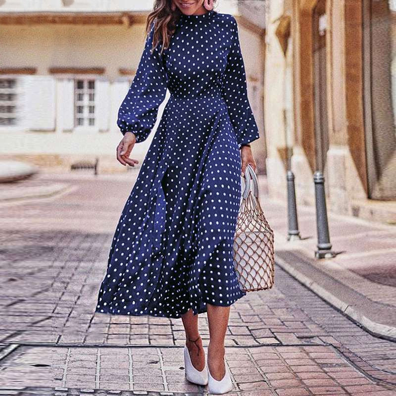 Boho Lantern Sleeve Polka Dot Printed Long Dress