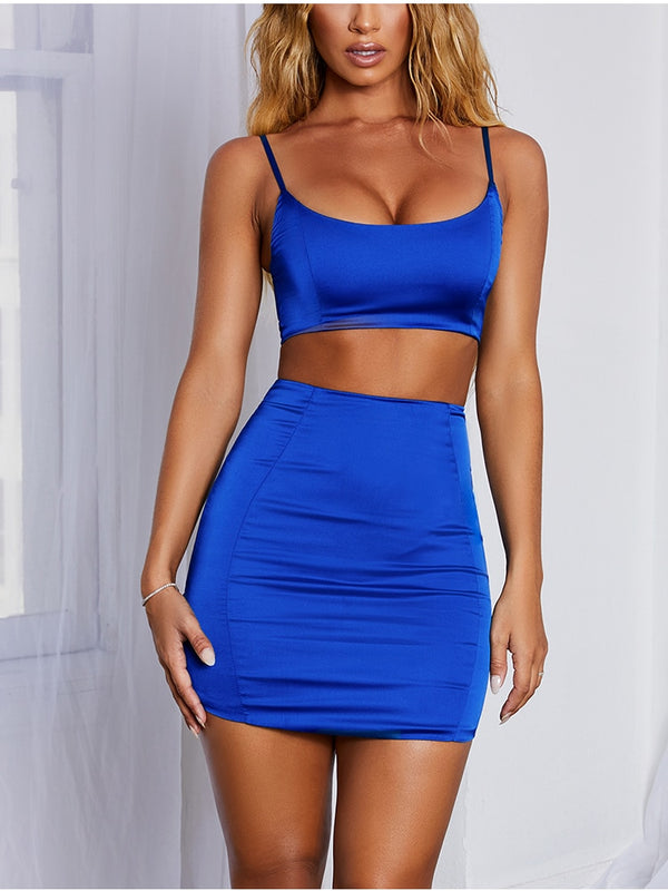 Double Layers Satin Matching Crop Top Skirt Two Piece Outfits