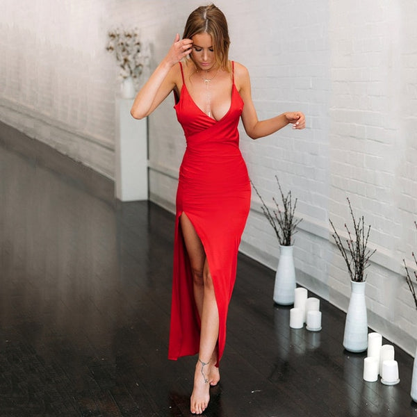 Elegant V Neck Backless Robe Dress