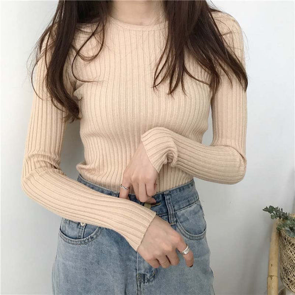 Winter Casual O-neck Knitted Slim Sweaters