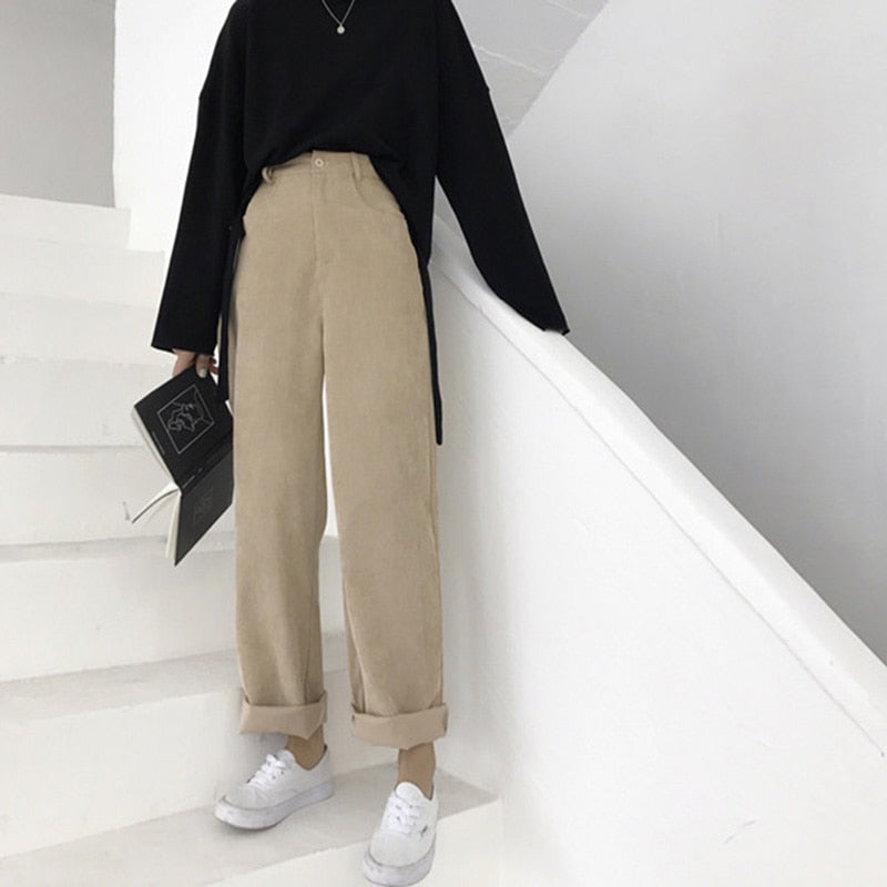 Loose Corduroy High Waist Pockets Long Trousers
