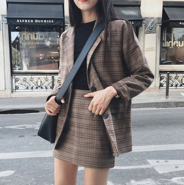 Retro Plaid Blazer Set Single-breasted Jacket & Pencil Skirt