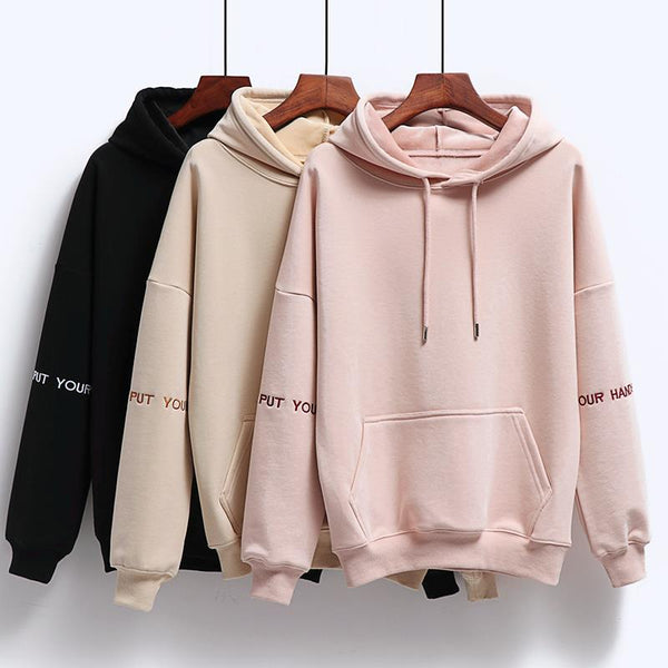 Corduroy Solid Color Embroidery Sweatshirt