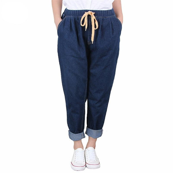 Harem High Elastic Waist Softener Denim Pants