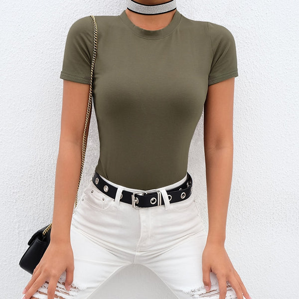 Casual Short Sleeve Bodysuit