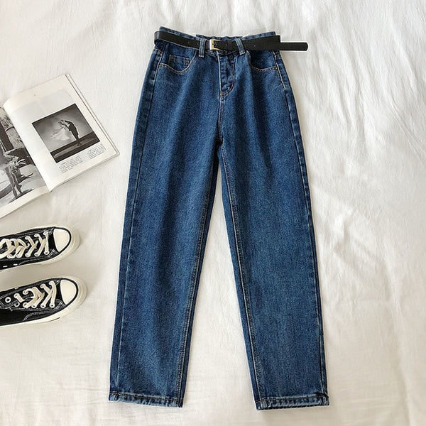Harem Ankle-Length Stretch Jeans With Belt