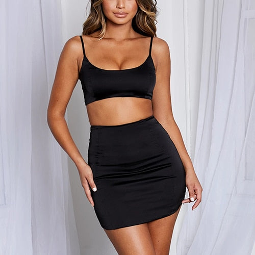 Satin Matching Sets Club Party Two Piece Set