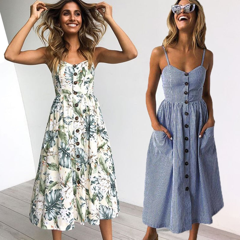 Vintage Casual Midi Button Backless Summer Dress