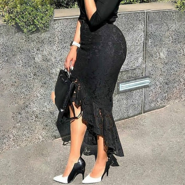 Black Lace High Waist Slim Midi Skirt