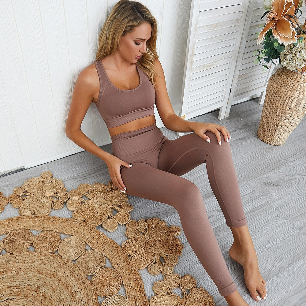 Seamless Workout Set Sport Leggings And Top Set
