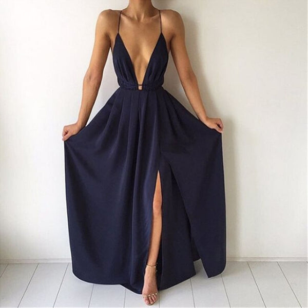 Spaghetti Strap Backless High Split Long Sundress