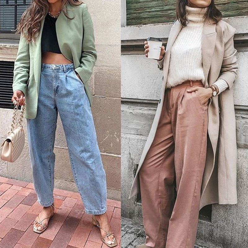 Pleated Loose Slouchy Pockets Boyfriend Pants