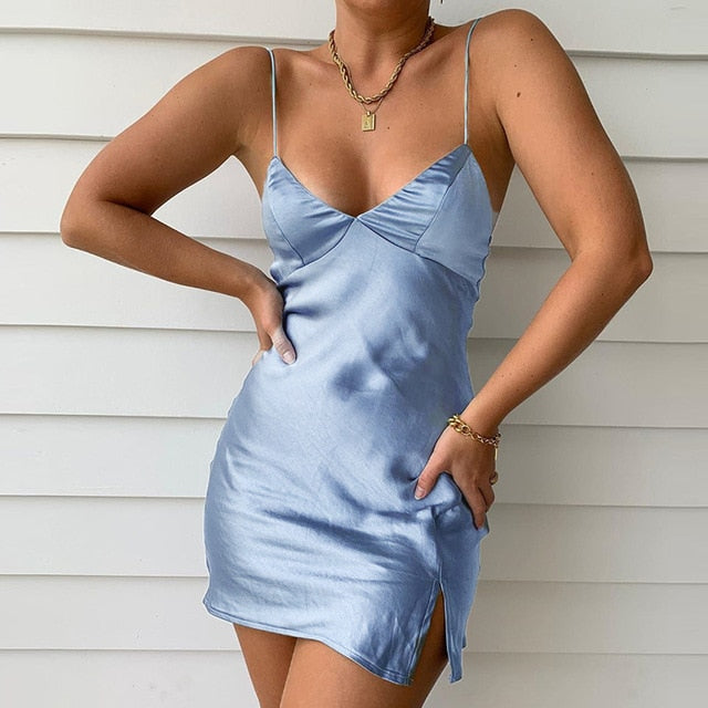 Satin V-Neck Spaghetti Strap Skinny Mini Party Dress