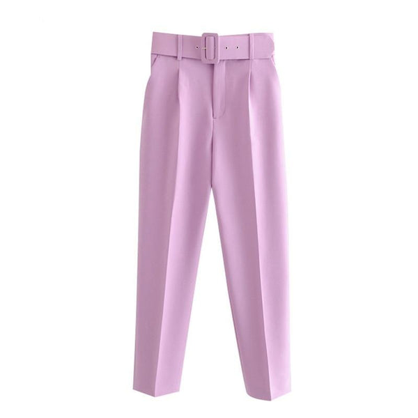 Fashion High Waist Pants With Belt