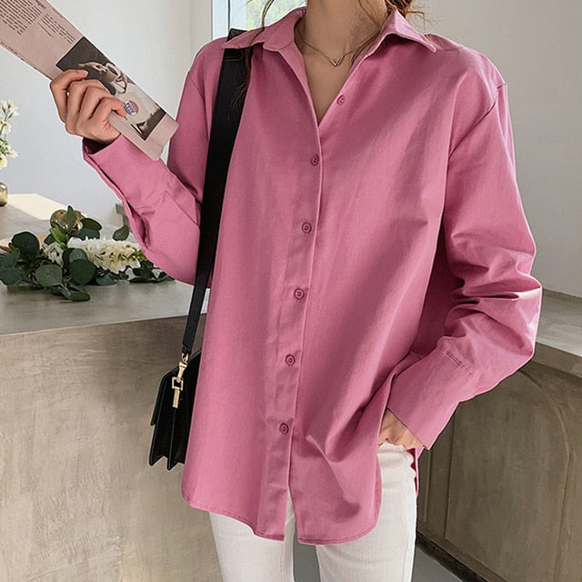 Single-breasted Lapel Loose Shirts Tops