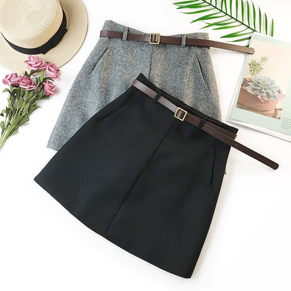 Vintage High Waist A-line Office Skirt With Belt