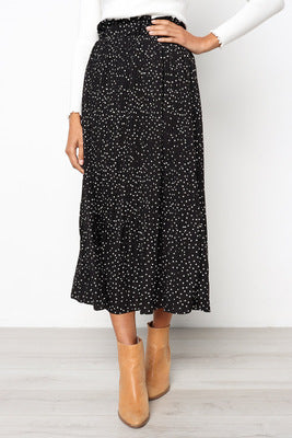 White Dots Floral Print Pleated Midi Skirt
