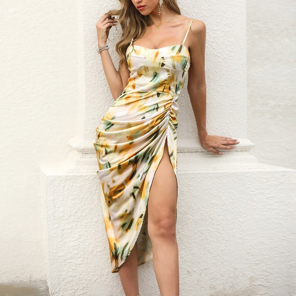 Abstract Print Spaghetti Strap High Slit Ruched Dress