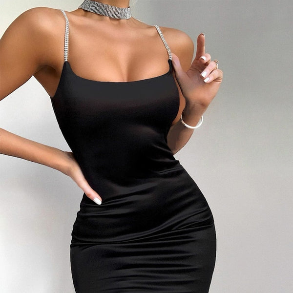 Diamond Thin Strap Bodycon Mini Dress