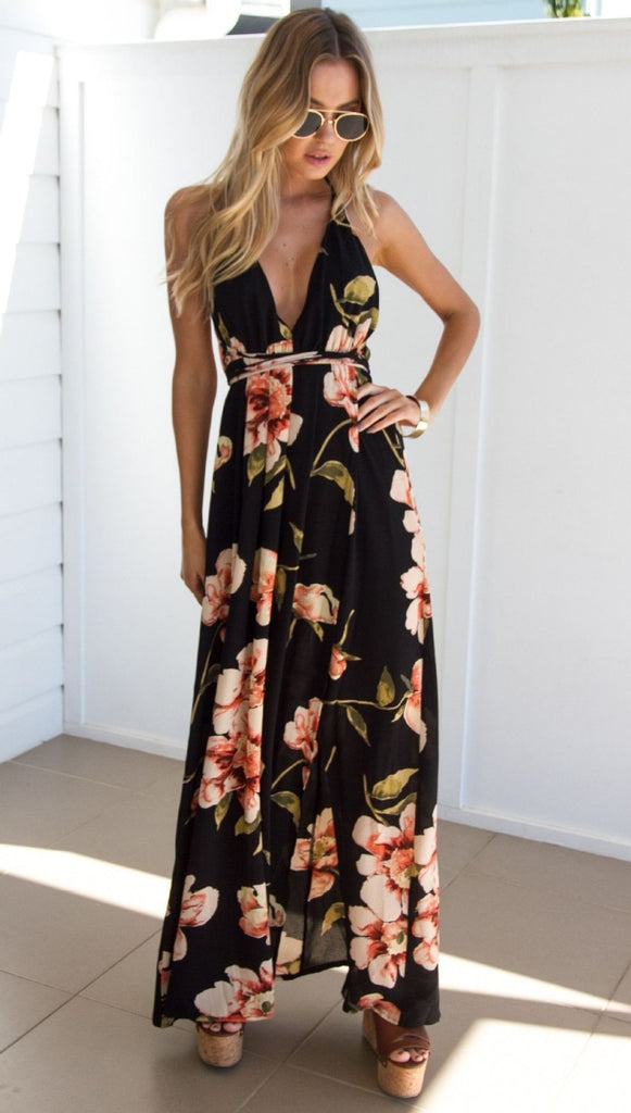 Floral Sexy Pleated Maxi Dress