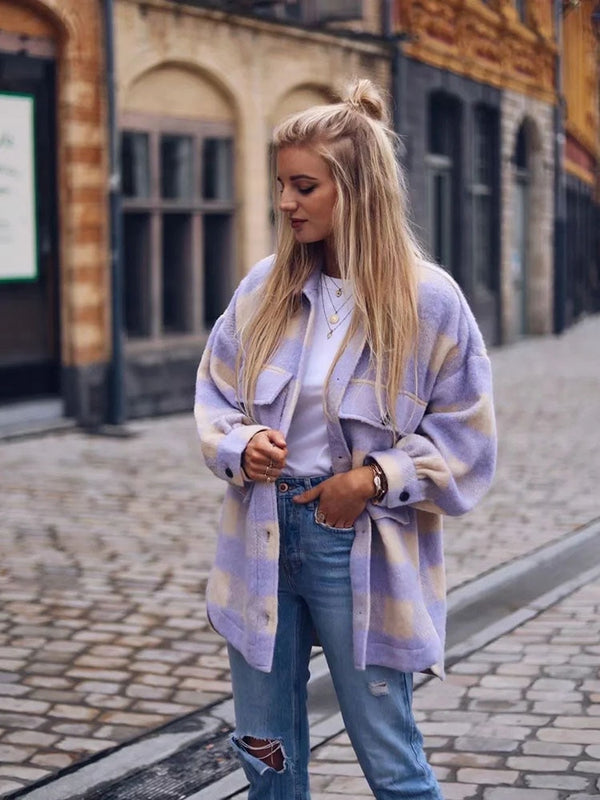 Stylish Sweet Plaid Woolen Shirt Jacket