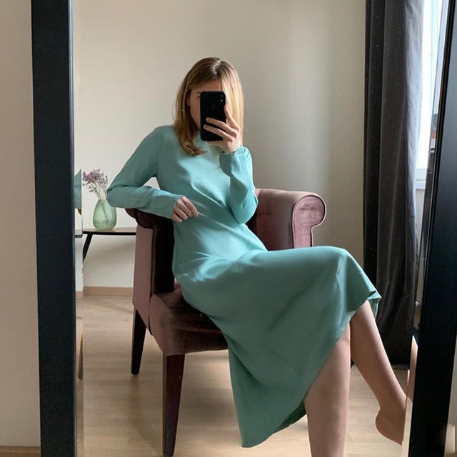 Elegant Satin Midi Loose Dress