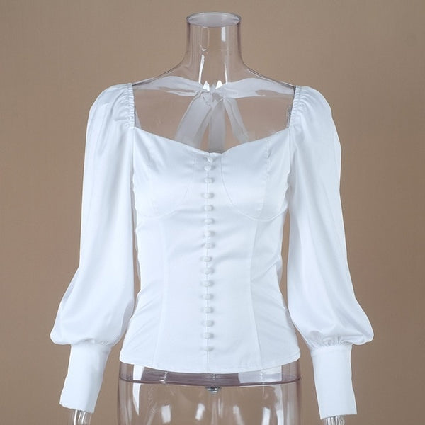 Square Collar White Tunic Puff Sleeve Top