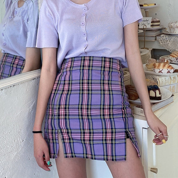 Korean Style Colored Plaid Skirt