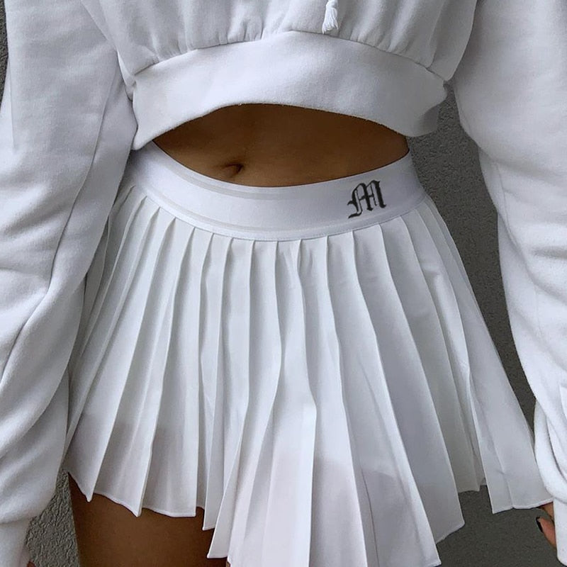 Casual Mini High Waisted Pleated Skirts