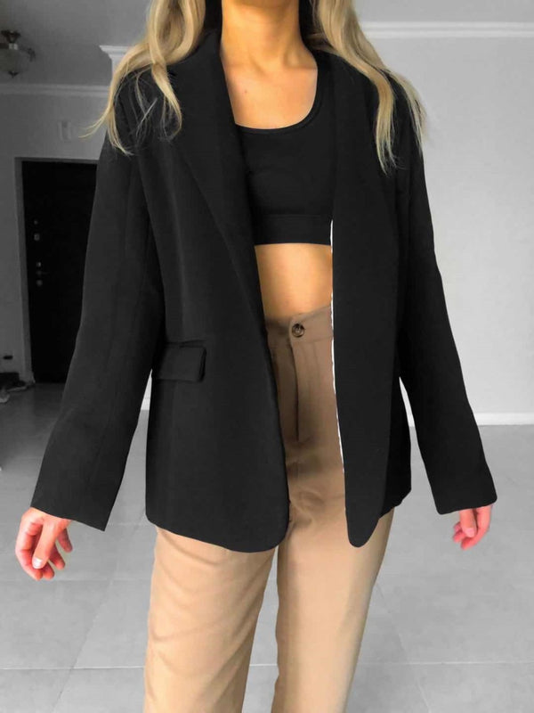 Elegant Black Single-Breasted Blazer