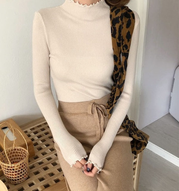 Turtleneck Ruched High Elastic Sweater