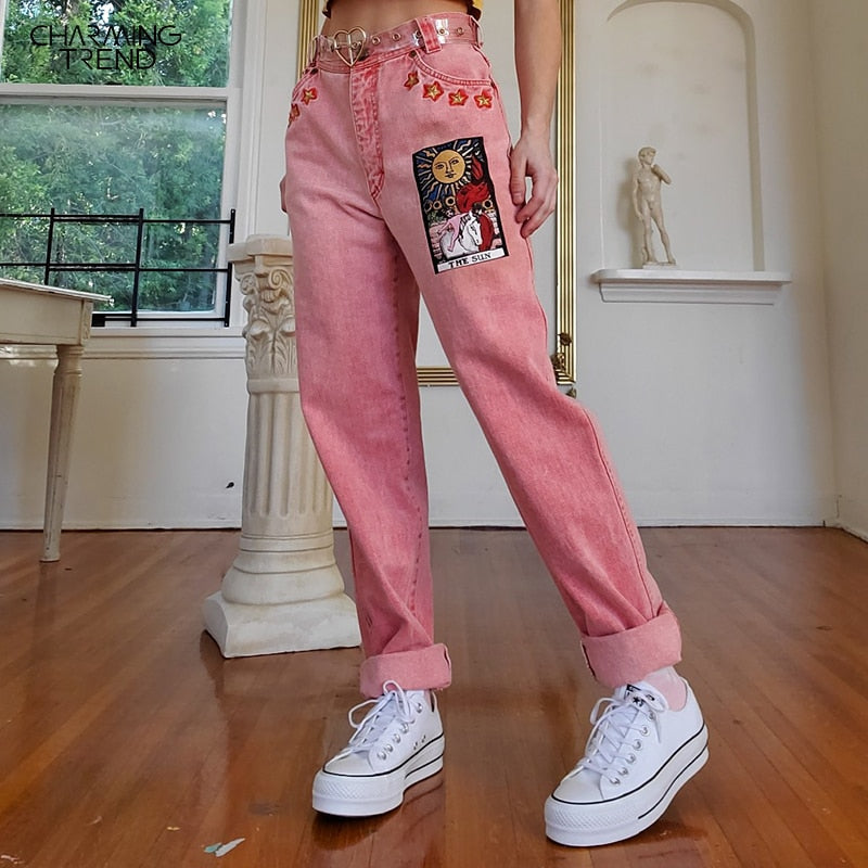 Vintage Mid-waist Sun Star Pattern Denim Trousers