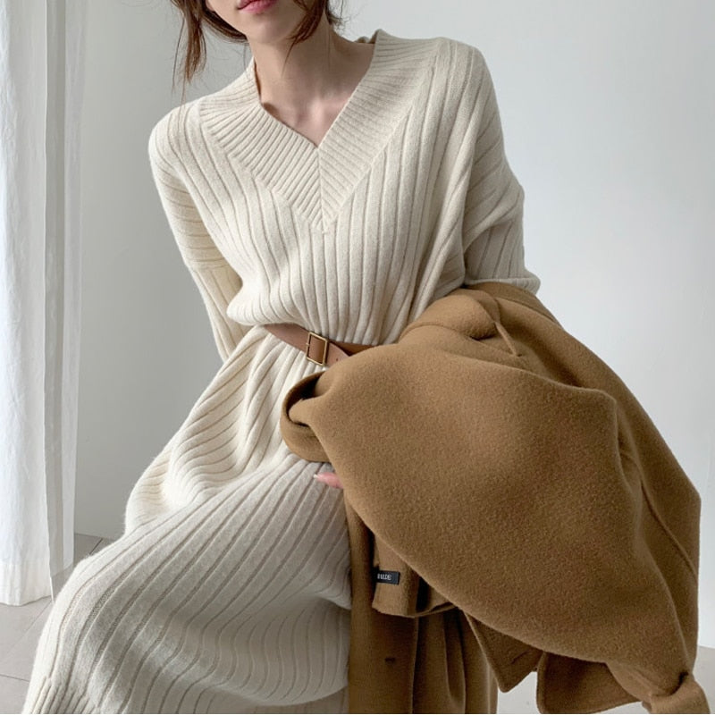 Vintage Warm Knitted Sweater Dress