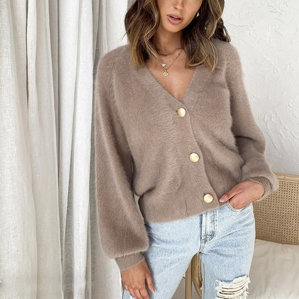 Elegant Long Sleeve Mohair Sweater