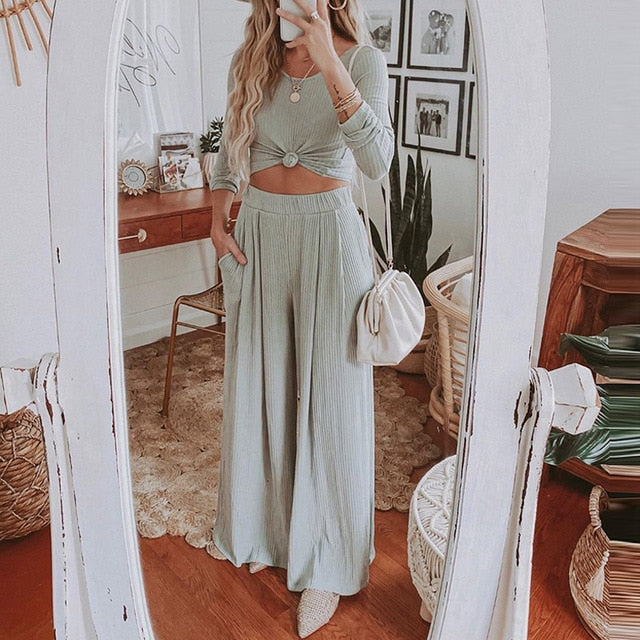 Casual Knitted Rib Two-Piece Sets