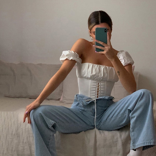 Off Shoulder Fashion Lace Up Shirts Blouse