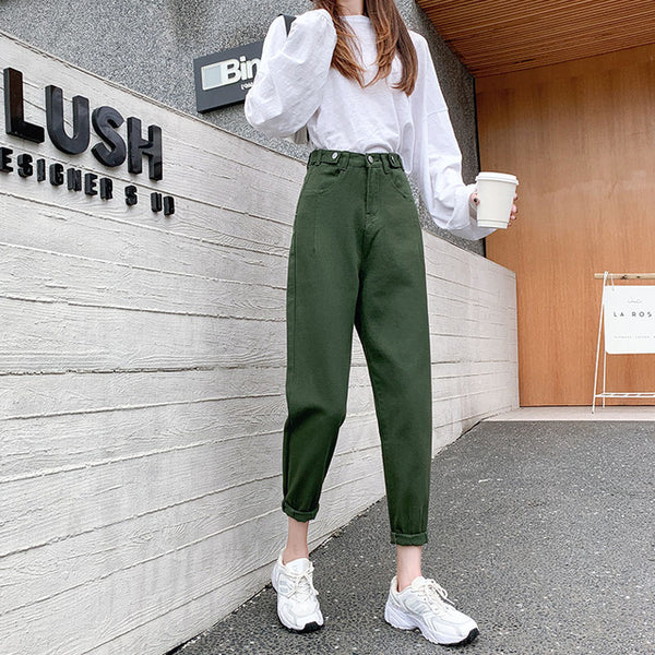 High Waist Denim Pencil Pants