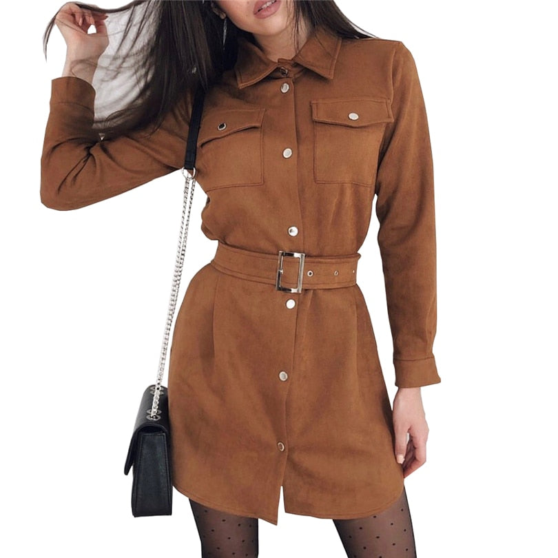 Single Breasted Turn Down Collar Suede Dress with Belt