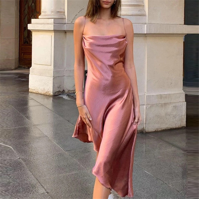 Metallic Satin Straps Long Dress