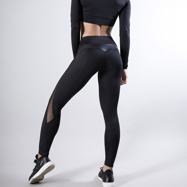 Mesh And PU Leather Patchwork Fitness Leggings