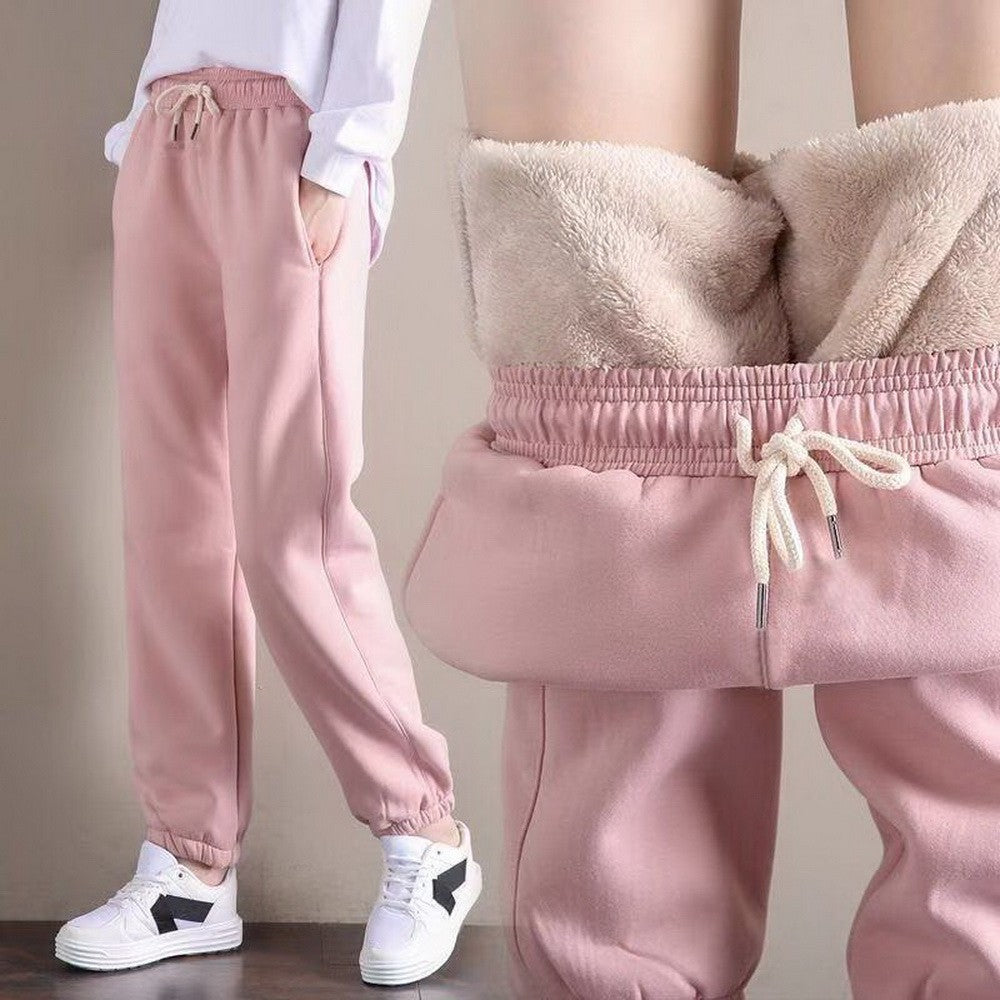 Winter Solid Thick Warm Workout Fleece Trousers