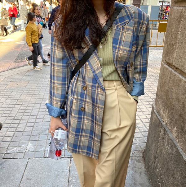 Vintage Loose Plaid Stylish Blazer