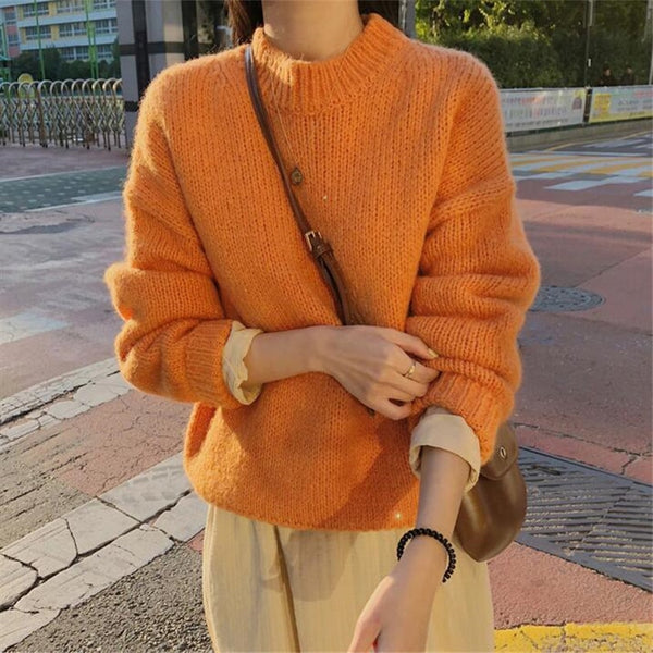 Solid O Neck Knitted Sweaters