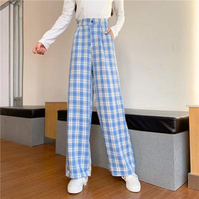 Vintage Fashion Plaid Straight Wide Leg Pant