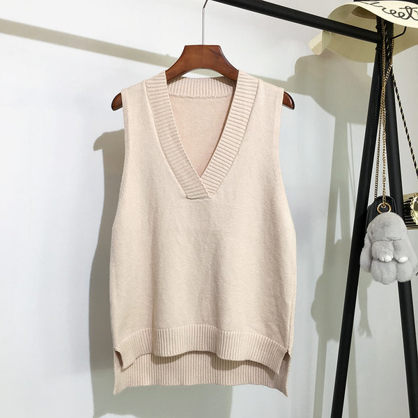 Loose Wild V-neck Knitted Vest Sweater