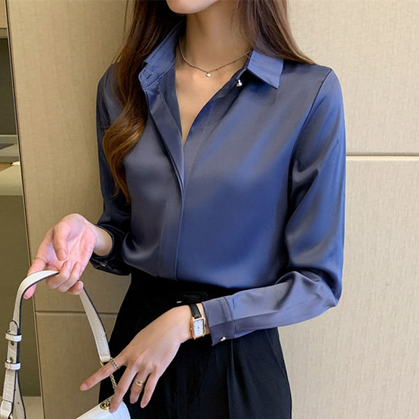Office Lady Satin Silk Long Sleeve Shirt