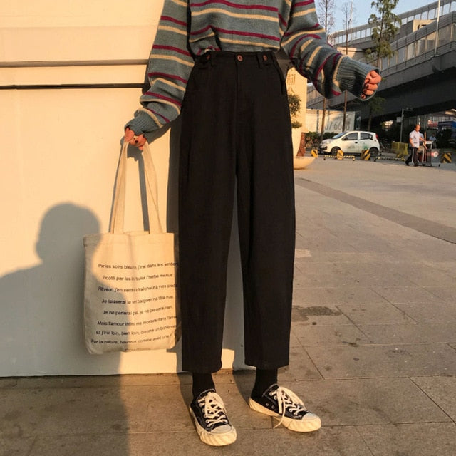 Vintage High Waist Pockets Trousers