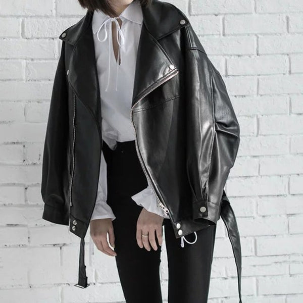 Black PU Leather Loose Jacket