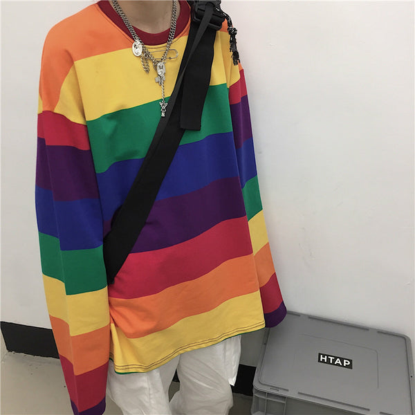 Rainbow Striped Oversize O-Neck T-shirts