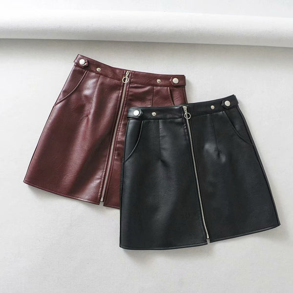 Pu Leather High Waist Pocket Zipper Skirt